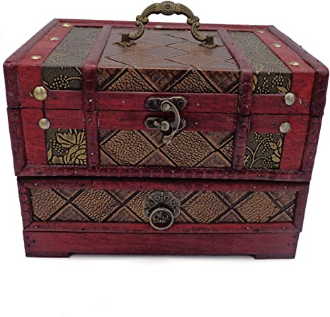 Vintage Jewelry Box Handmade Colorful Gift Box Trinket Box Wooden Decorated Jewelry Box Small Retro Box UNUSED