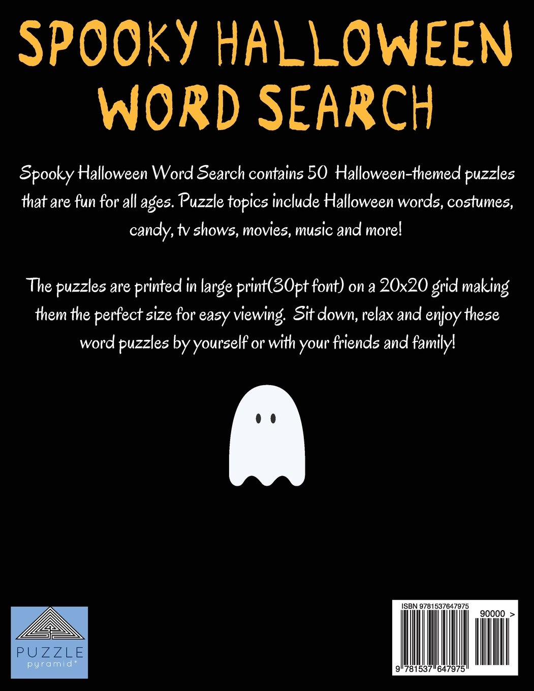 spooky halloween word search large print word search word search book halloween puzzles word find puzzle pyramid 9781537647975 amazoncom books