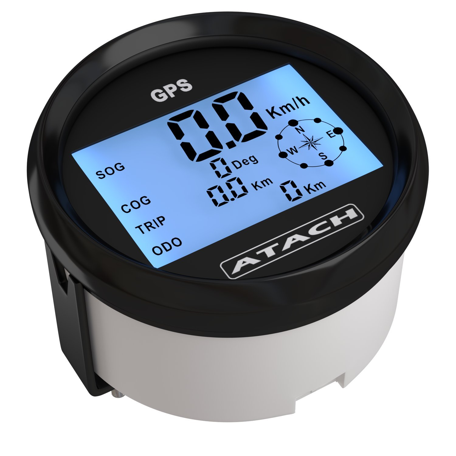 AndyTach 3-3/8'' ATACH DIGITAL GPS speedometer with high speed recall (BLACK/BLACK BEZEL) by AndyTach (Image #1)