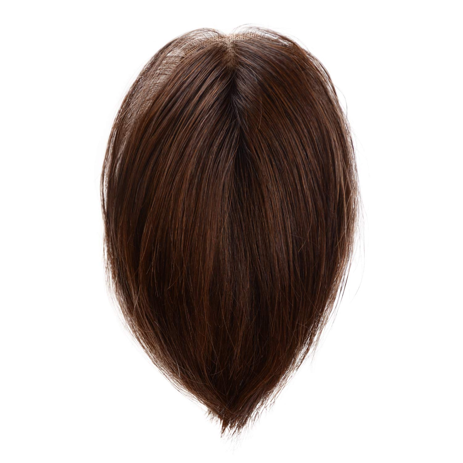 BARSDAR Real Human Hair Toppers for Women Silk Base Top Hairpiece Replacement Straight Toupee for Women Top Piece Short 6''/6 inch (4# Dark Brown)