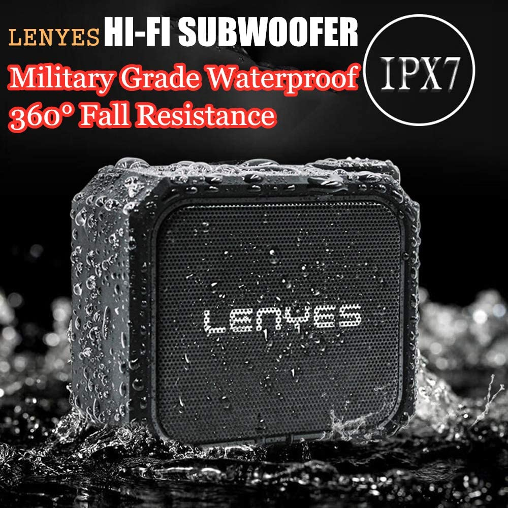 TWS Full Range Loudspeaker LENYES Military Grade IPX7 Waterproof Bluetooth Speakers Shockproof /& Dust-Proof Multiple Protection Hi-Fi Bass Chip 360/° Stereo Sound Build-in Lithium Battery