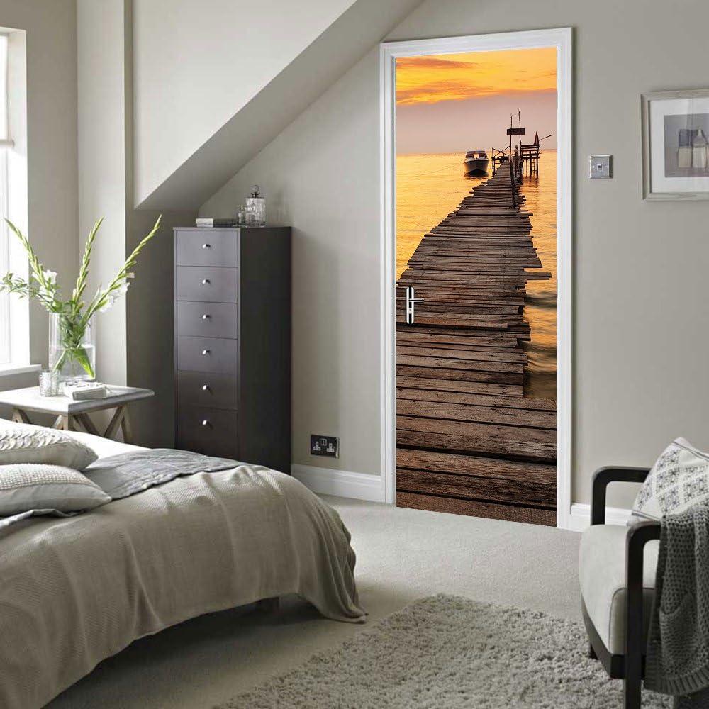 Sticker Porte Trompe loeil Effect 3D pour D/écoration Mur Salon Cuisine Chambre Salle de Bain Papier Peint 77X200cm Le coucher du Soleil