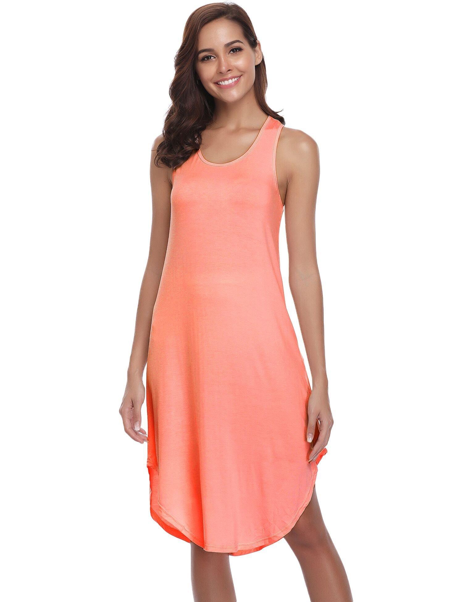 Aibrou Women's Cotton Nightgown Sleeveless Racerback Nightshirt Dress Sleepwear (Orange, Small)