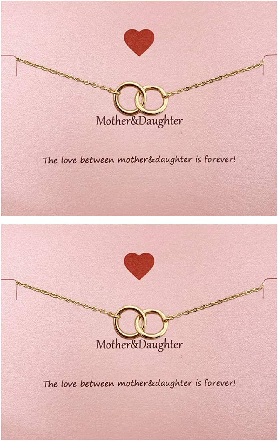 Your Always Charm Mother Daughter Bracelet Set for 2,Interlocking Heart Mothers Day Jewelry Gifts from Daughter