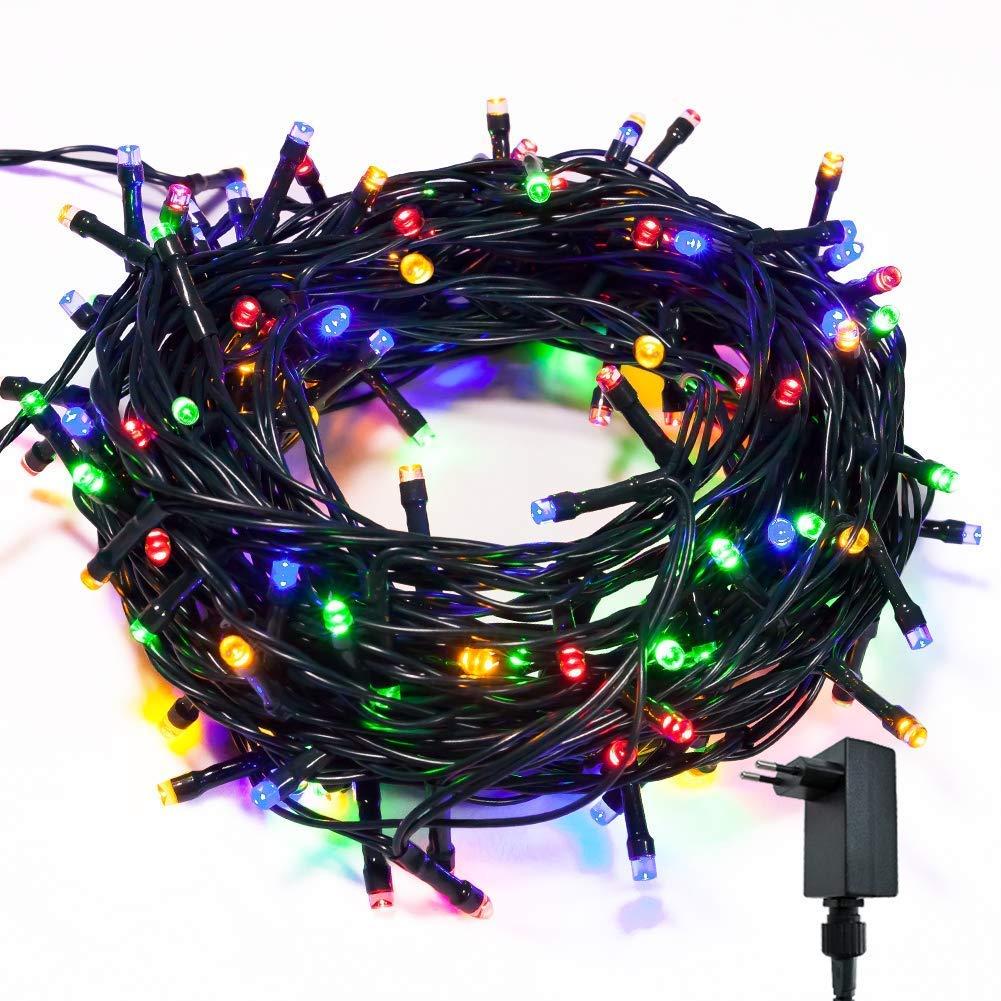 takestop 200 LED LUCI RGB Colorata 091/371 Filo Verde Albero di Natale Catena Luminosa Controller 8 FUNZIONI MINILUCCIOLE LAMPADINE LUCCIOLE da Esterno IP44 Impermeabile MOON 1008926