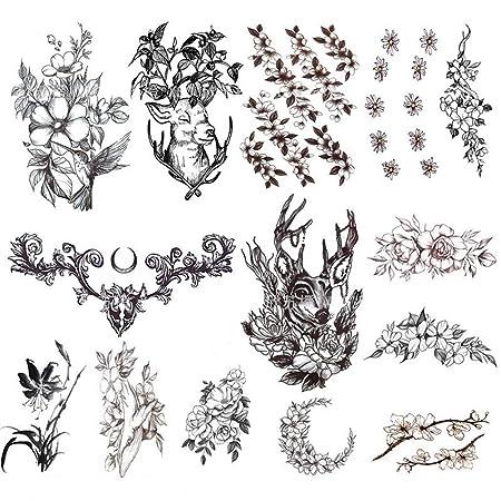 YSYYSH Dibujos Animados Animal Flor Tatuaje Pegatinas Negro ...