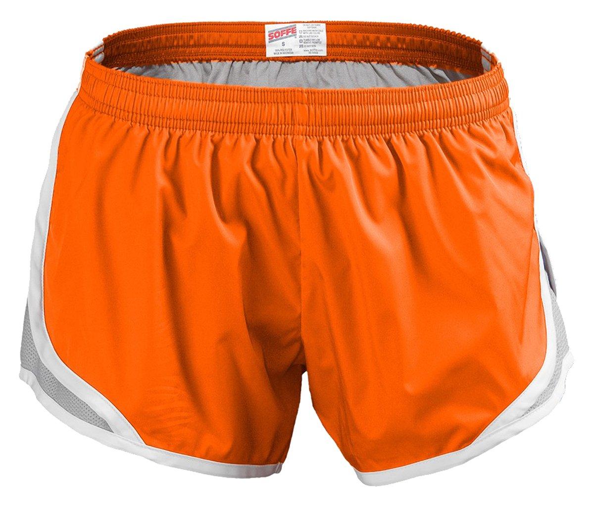 Soffe MJ Big Girls' GRL Team Shorty Short Poly, Orange/Silver, Medium