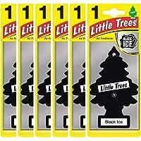 Air Freshener - LITTLE TREES 'Tree' - 'Black Ice' Fragrance MTZ04 - For Car And Home - 6 Pack