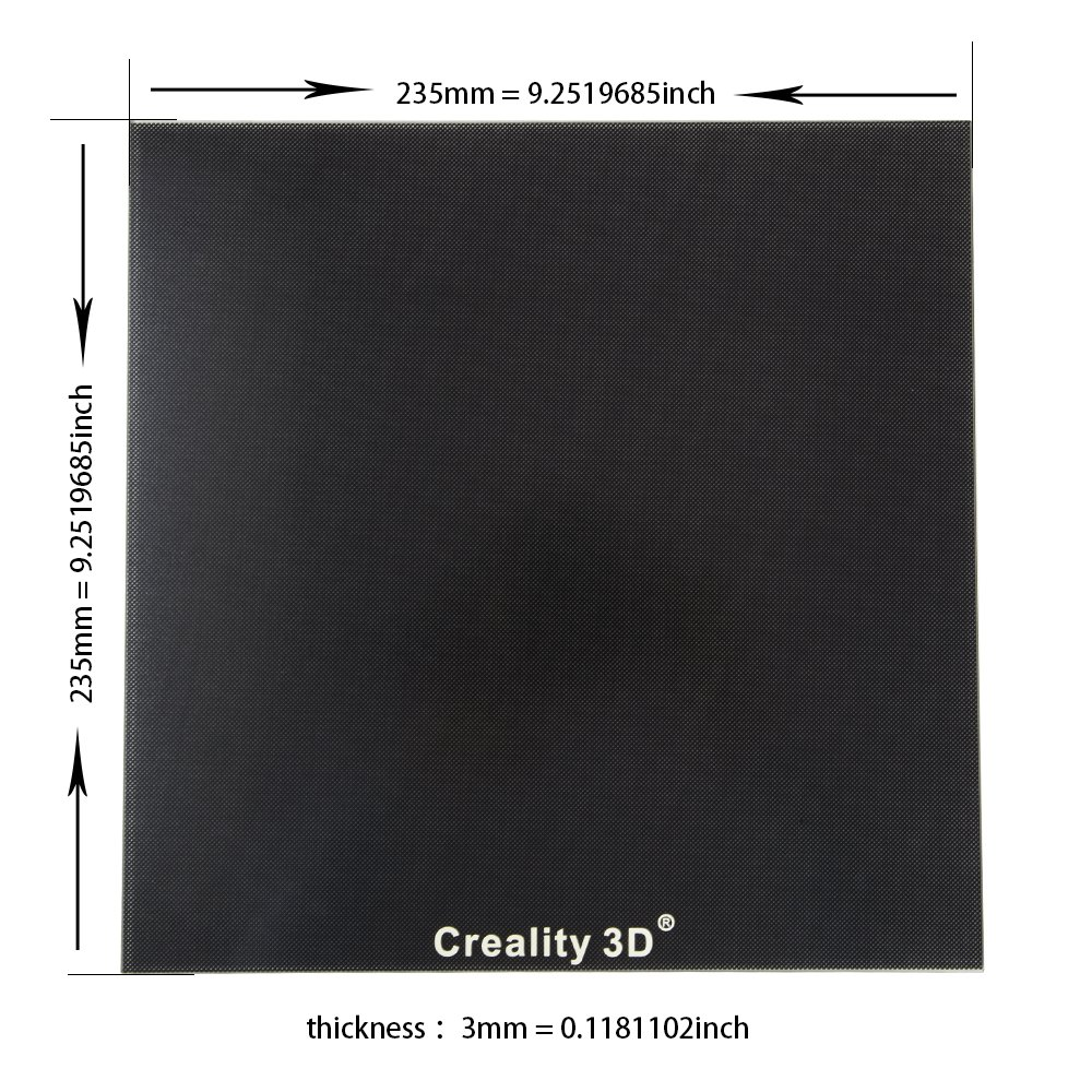 Comgrow Heat Bed Glass Plate 235 x 235mm for Creality 3D Printer Ender-3 Ender-3 Pro Creality3d
