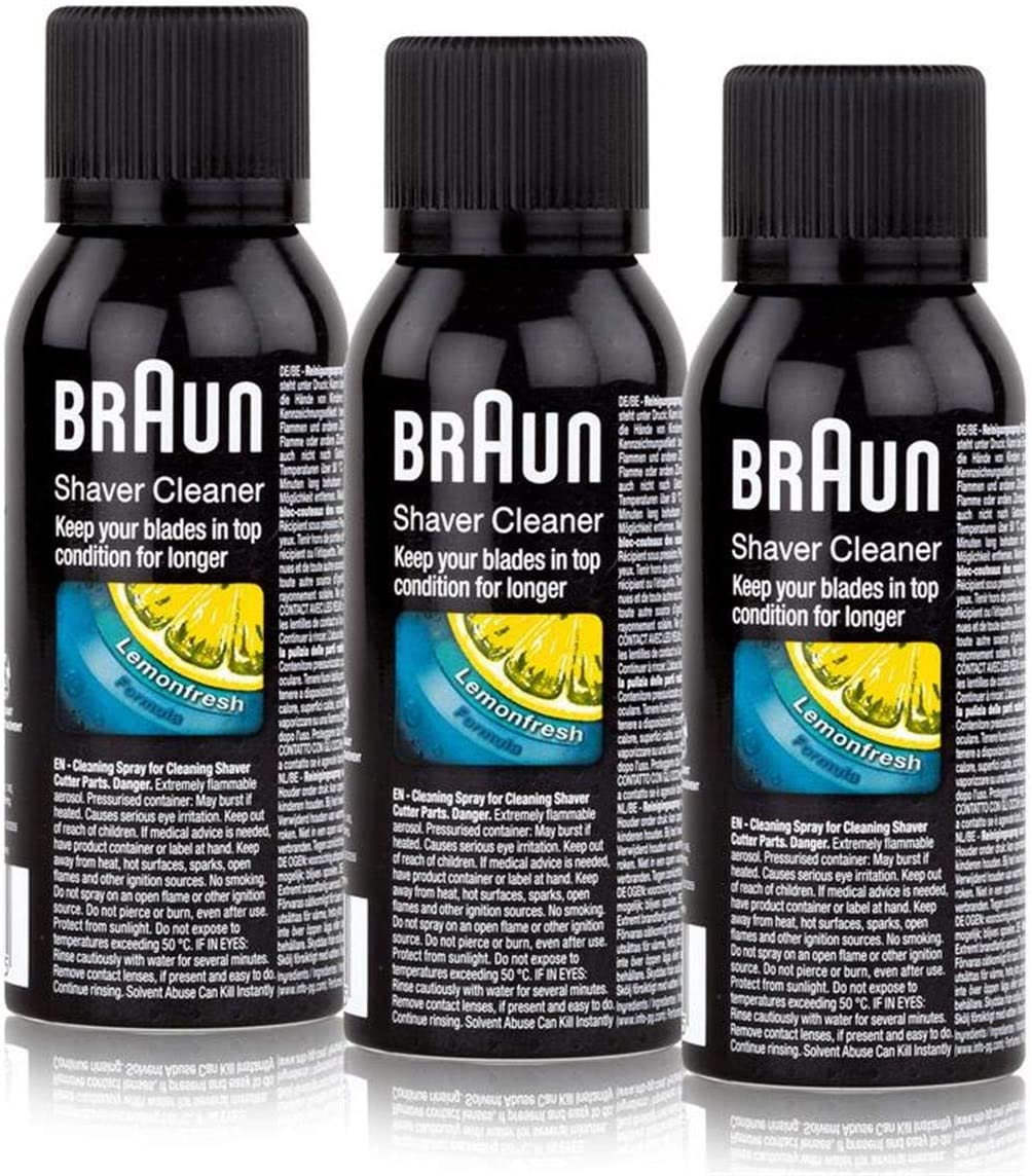 3x Braun Shaver Cleaner - Cleaning Spray Fluid For Shaver