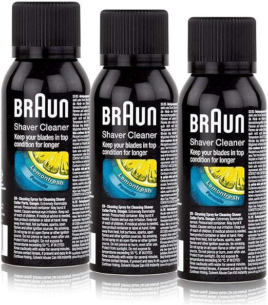 3x Braun Spray de Limpieza para Máquina de Afeitar - Braun Shaver ...