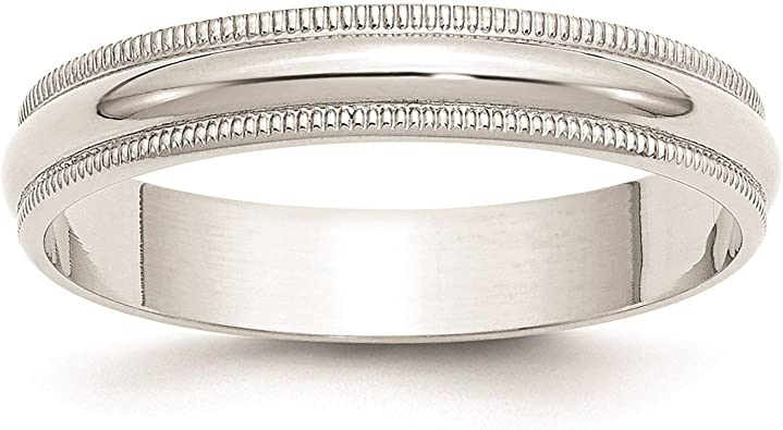 Mens 10K White Gold 5mm Light Milgrain Half Round Wedding Band Ring