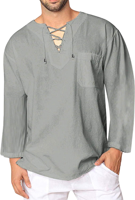 JINIDU T-shirt tendance en coton et lin pour homme