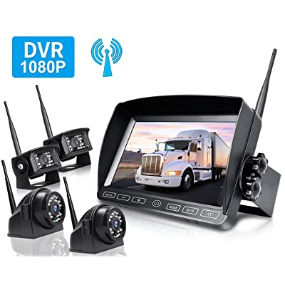 ZEROXCLUB Digital Wireless Backup Camera System Kit,HD1080P Wireless Reverse Rear Side View Camera,No Interference,IP69 Waterproof + 7'' LCD Wireless Monitor for RV/Truck/Trailer/Bus/Pickup/Van-B4C: Car Electronics
