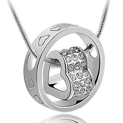 Valentine Gifts For Girls / Girlfriend : Shining Diva Silver Heart Pendant  Necklace Jewellery For Women