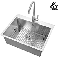 """Yutong 25"""" x 20"""" Top-Mount/Drop in Stainless Steel Single Bowl Kitchen Sink (with Grid)"""
