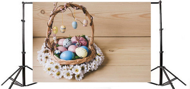 10x6.5ft Vinyl Photography Backdrop Happy Easter Eggs Bird Nest Fresh Flowers Birdcage Basket Rustic Wood Plank Vintage Wooden Floor Photo Background Children Baby Adults Portraits Backdrop