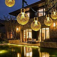 Fochea Lichtsnoer op zonne-energie, 14 m, 80 leds, voor buiten, met kristallen bollen, 8 modi, IPX5 waterdicht, op zonne…