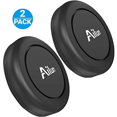 Ailun Mini Car Phone Mount Magnet Key Holder 2Pack Stick on Dashboard Magnetic Car Mount Holder for iPhone X Xs XR Xs Max 8Plus Galaxy s20, s20+ S20Ultra S10 S9 Plus Note 10 and More Phones Black