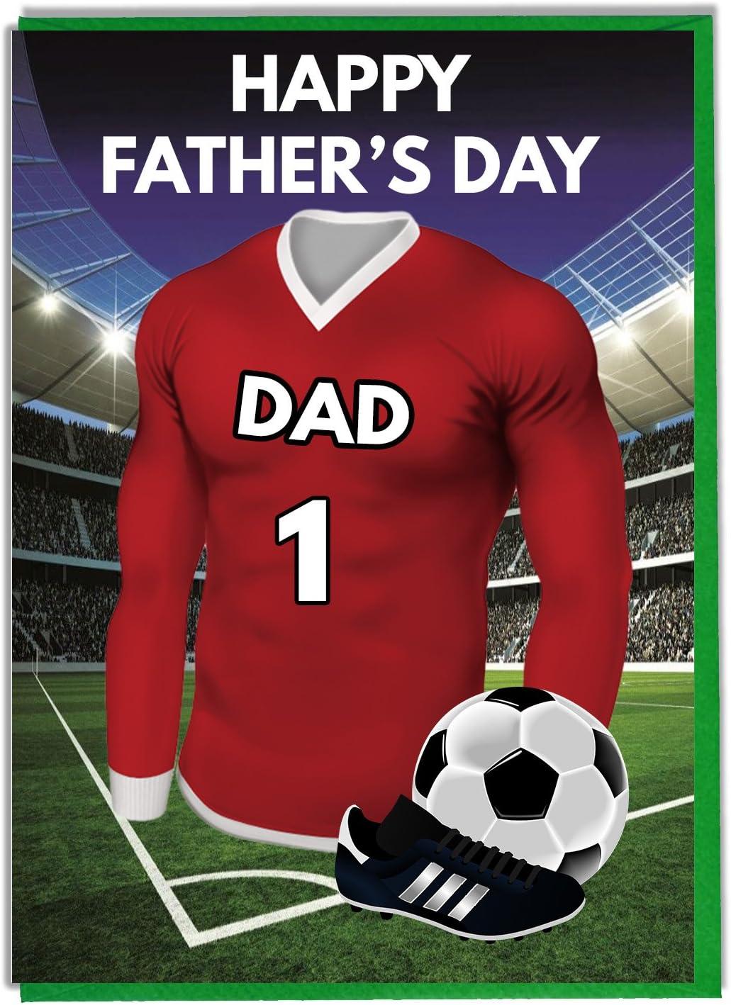 Tarjeta del día del padre con temática de fútbol para un padre ...