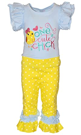 157be0a1c9a Amazon.com  Unique Baby Girls One Cute Chick Easter Outfit  Clothing