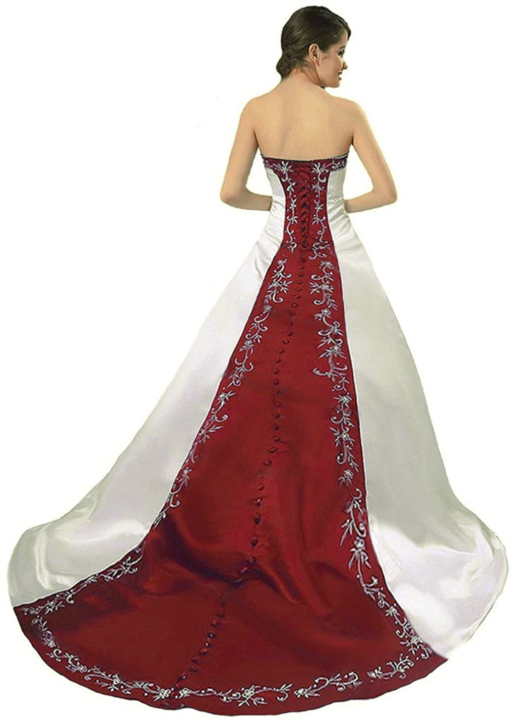 Ivory & Burgundy Vantexi Women's Strapless Satin Embroidery Wedding Dress Bridal Gown