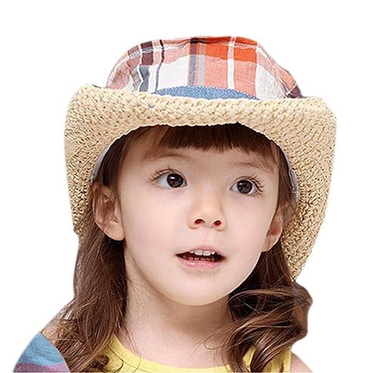 Kids Straw Hat Casual Summer Sun Visor Hat Children Checkers Pattern Hat a0044dff7f1