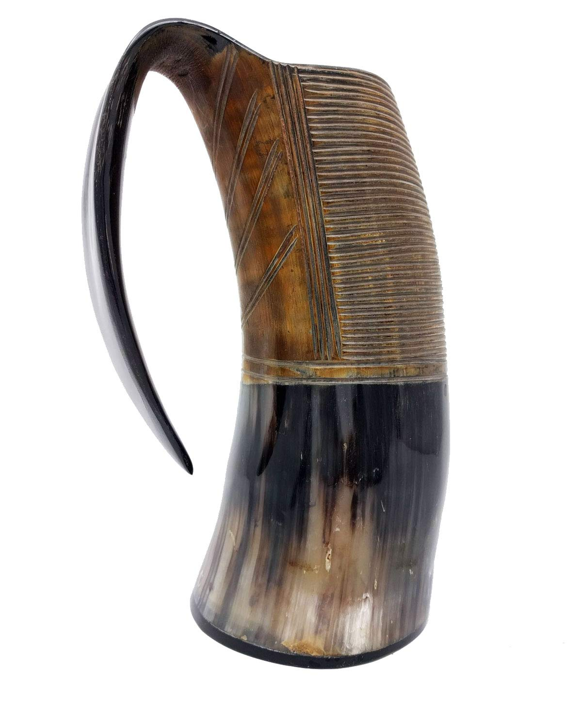 AleHorn – The Original Handcrafted Authentic Viking Drinking Horn Tankard for Beer, Mead, Ale – Medieval Inspired Stein Mug – Food Safe Vessel With Handle (XXL, Burnt) by AleHorn (Image #3)