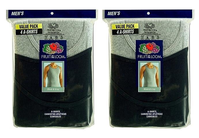 Fruit of the Loom Mens 8Pack Black & Grey A Shirts Tank Tops Undershirts 3XL