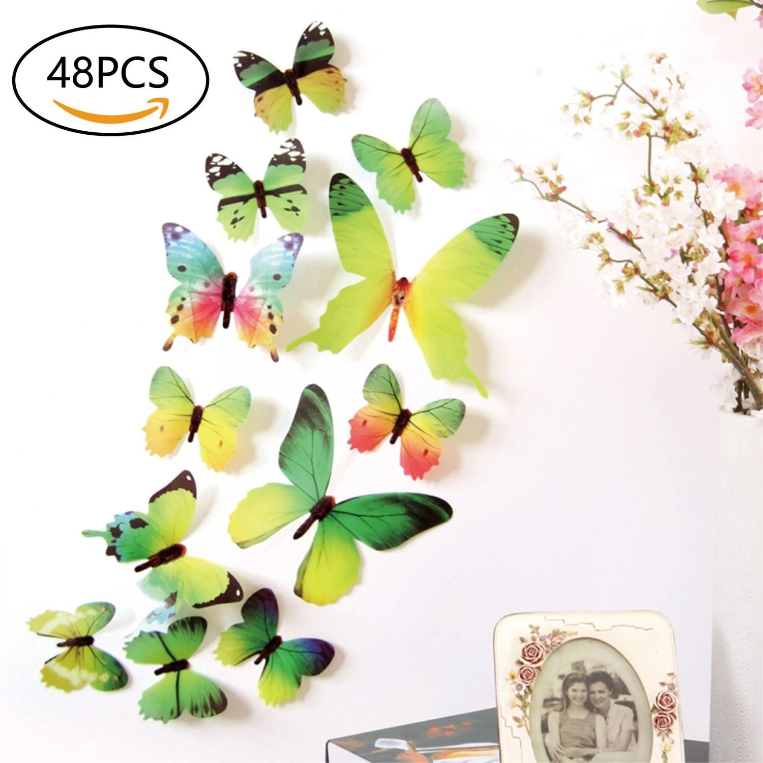 48 PCS Removable 3D Butterfly Wall Stickers Decals DIY Wall Art Decor Home Wall Decoration Sticker Mural for Kids Girls Children Bedroom Living Room Background Nursery (Green)