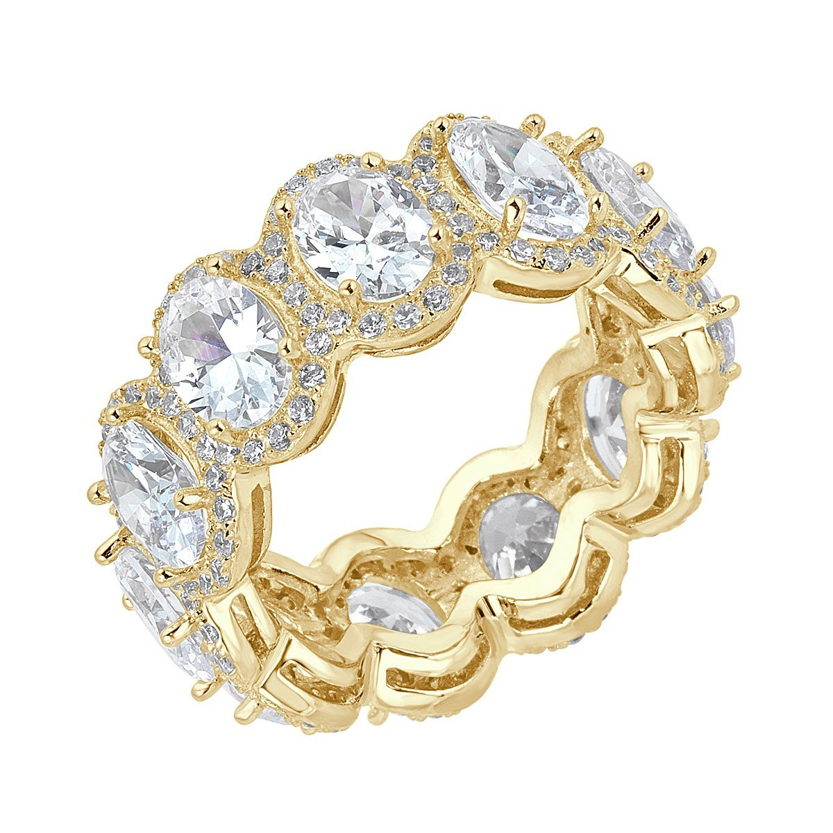 Gold Plated Sterling Silver Eternity Oval Cubic Zirconia Eternity Band Size 7 by Caratina