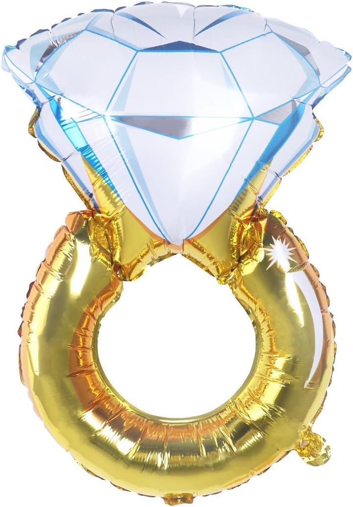 Toyvian Globo de Fiesta de Anillo de Diamante - Globo de Compromiso Gigante de 77cm, decoración de la Boda, Globo de Papel de Soltera