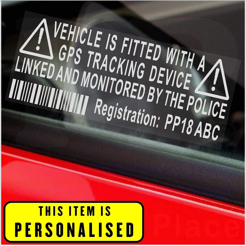 4 x / Fake GPS Rastreador personalizada dispositivo de sistema de alarma de la unidad de Seguridad Maniquí de la ventana de advertencia pegatinas con código ...