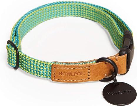 HOWLPOT. Collar de Perro Apretado (Tipo Cinta) Fabricado con Cuero de Buttero auténtico y Cuerda de Escalada