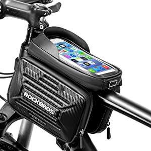 ROCKBROS Bike Phone Bag Miracle Bike Bag Top Tube Cell Phone Holder Bag Water Resistant Hard Shell Bike Storage Bag Compatible with iPhone X XR Xs Max 7 8 Plus Samsung Galaxy S10+/S9+/S8+