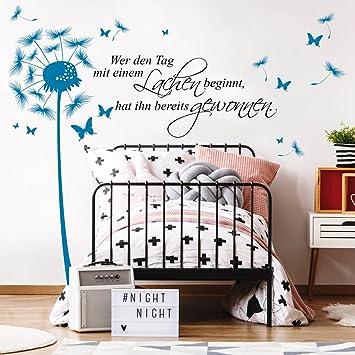 Wandtattoo Pusteblume Schmetterling WUNSCHTEXT 12362 2farbig Spruch Worte