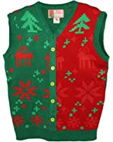 Blue Star Clothing Unisex Ugly Christmas Holiday Pullover V-Neck Knit Vest Sweater