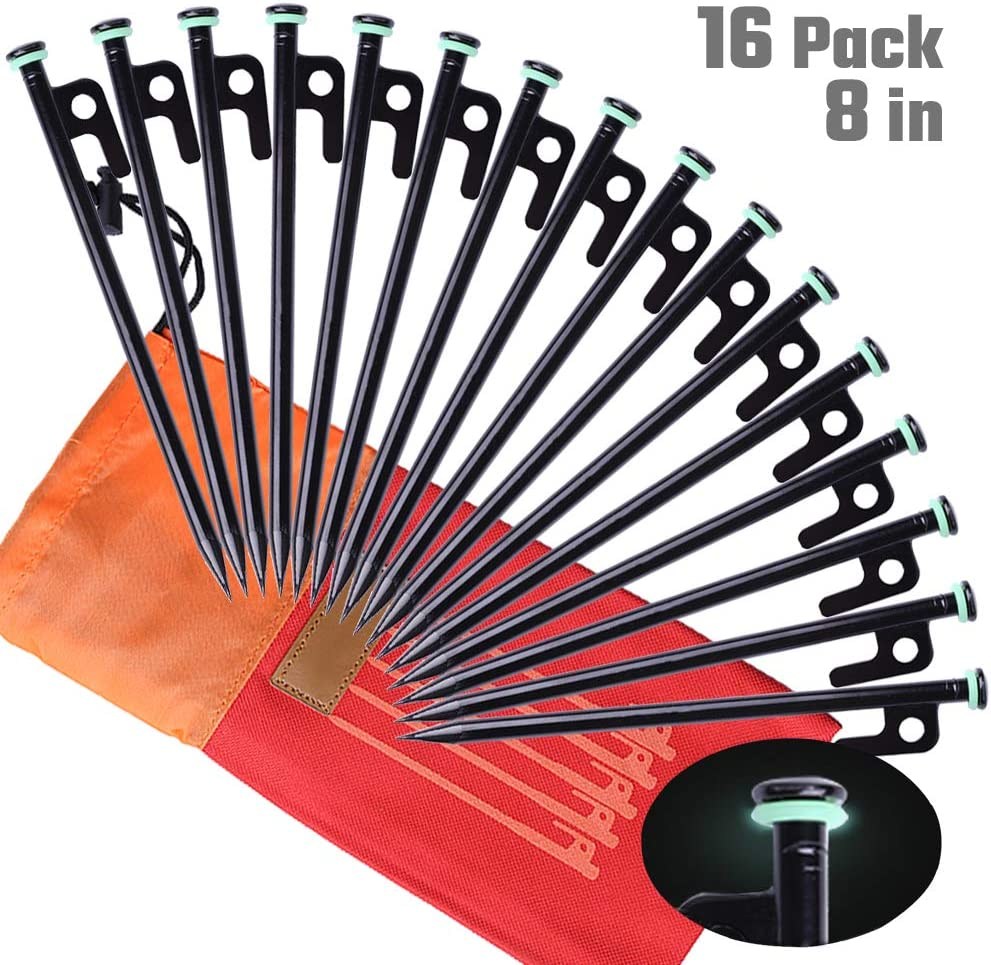 Heavy Duty Camping Stakes 12-Inch//8-Inch Forged Steel Tent Pegs Camping Stakes for Rocky//Hard Places Yiliaw Tent Stakes