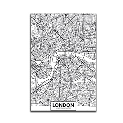 Map Of Uk Black And White.Mengonee London New York Paris Canvas Wall Painting World City Map Poster Black White Abstract Skeleton Oil Unframed Drawing