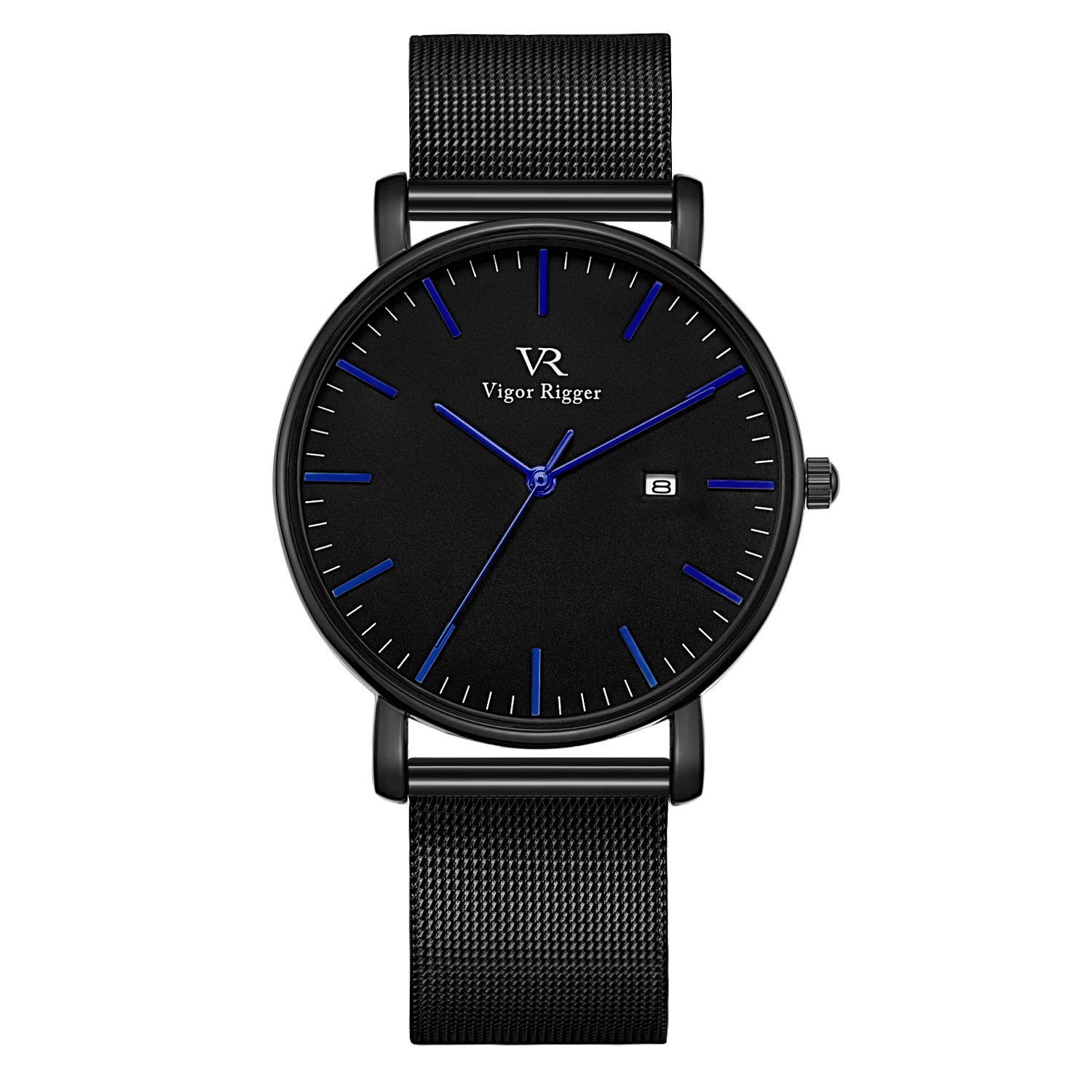 Vigor Rigger Men's Leather Stainless Steel Slim Quartz Watch 30M Waterproof Black Wristwatch