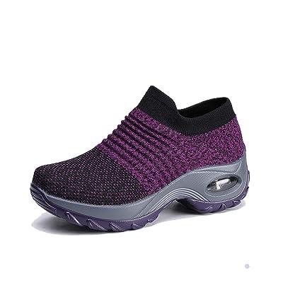 EXEBLUE Women Slip on Walking Shoes Mesh Fashion Platform Sneakers Comfort Wedge Loafers | Walking