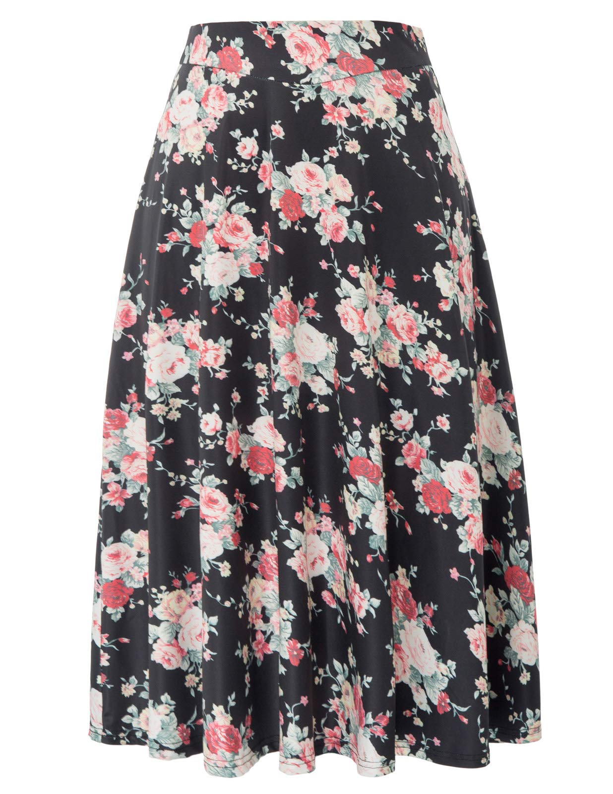 Women's Highwaist Flowing Swing A-Line Skirt Midi Length(S,Black-Flower)