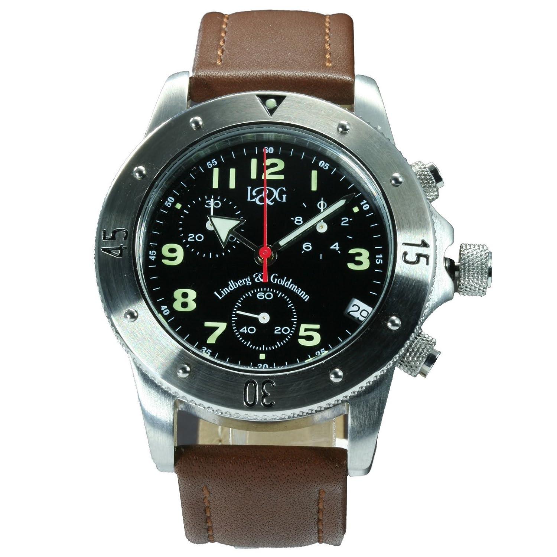 Berlin Leather von Lindberg & Goldmann: Damen-Chronograph - Damenarmbanduhr - Armbanduhr - Damenuhr mit braunem Lederarmband -