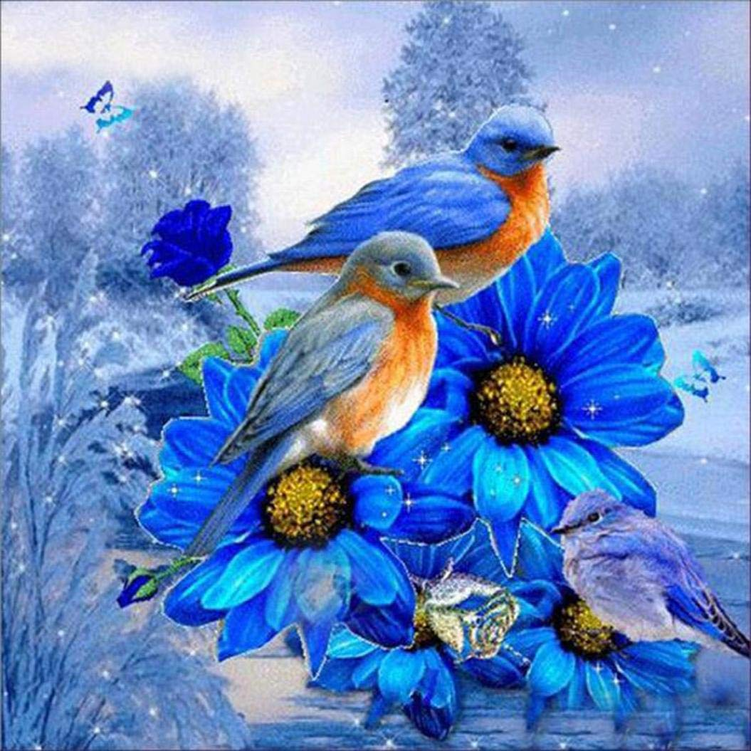 5D Diamond Art Full Drill Painting Kits, uBabamama Birds Flowers DIY Embroidery Cross Stitch Rhinestone Pasted DIY Painting,30 * 30 cm