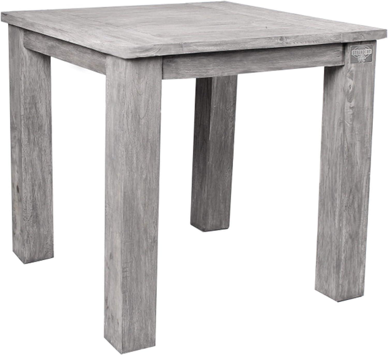 STRANDGUT07 - Mesa de jardín de madera de teca, aproximadamente 75 x 75 x 75 cm, gris lavado