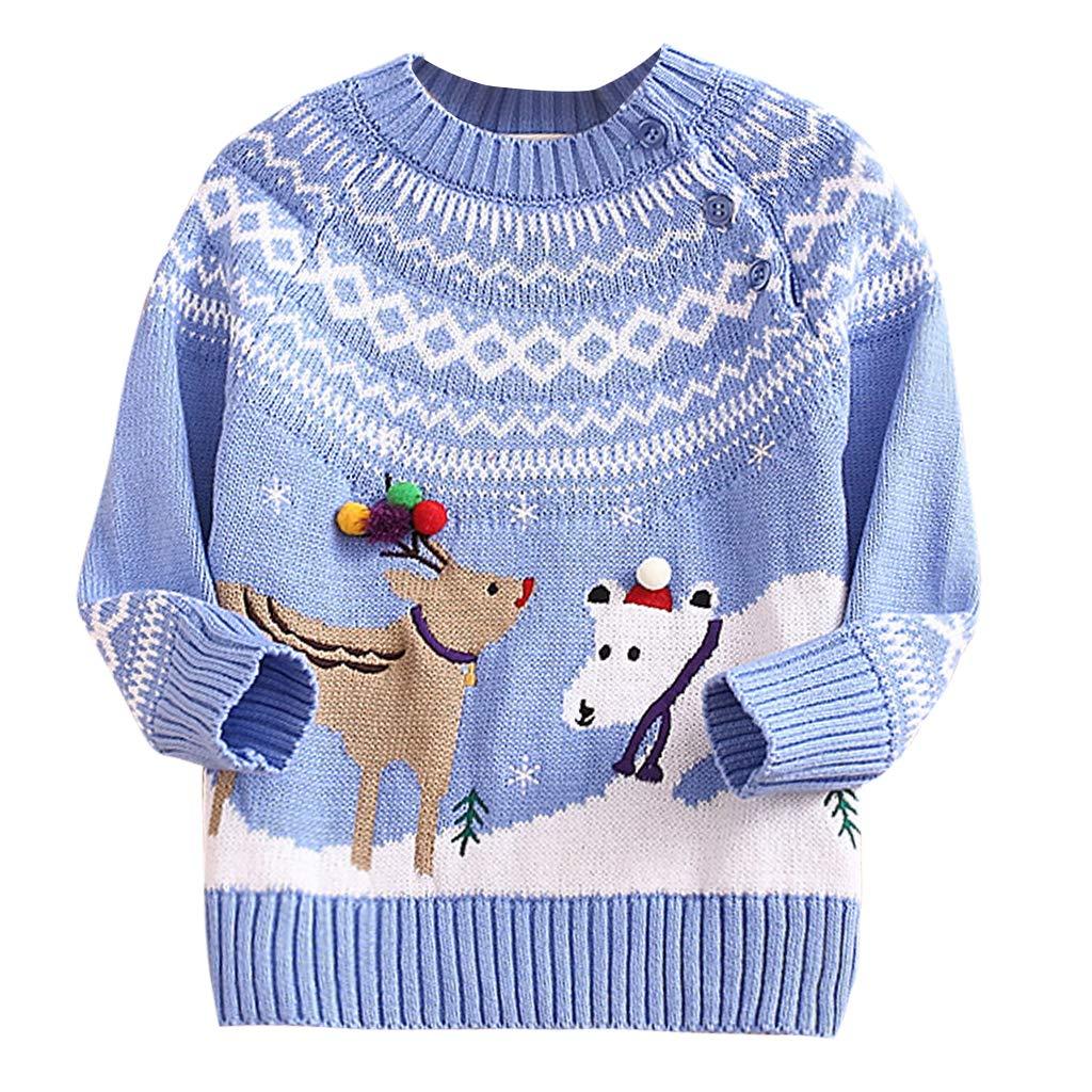 Pull de No/ël pour Enfant Gar/çons Filles Hiver Chandail Tricot/é Pull-Over Xmas Sauteur Sweater