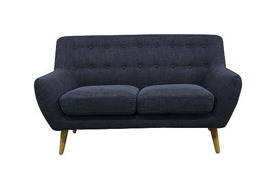 HomeElements Scandi Retro - Sofá pequeño de 2 plazas, diseño ...