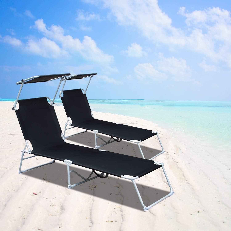 VINGO Lettino Pieghevole Professionale Perfetto per Spiaggia con Tetto Parasole e Rivestimento in Textilene Piscina e Giardino Nero
