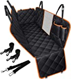 Dog Car Seat Cover Waterproof Pet Seat Cover with View Mesh & Side Flaps & Dog Car Seat Belt, Non-Slip Backing Dog Back…