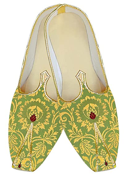 Mens Beige Kheenkhap Wedding Mojari Shoes MJ18412
